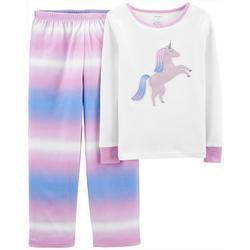 Little Girls 2-pc. Tie Dye Unicorn Pajama Set