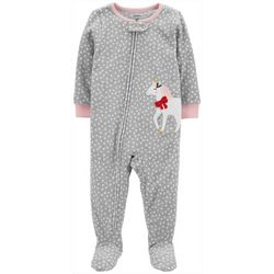 Carters Little Girls Polka Dot Unicorn Footie Pajamas