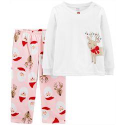 Toddler Girls 2-pc. Santa Deer Fleece Pajama Set
