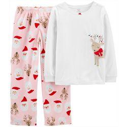 Little Girls 2-pc. Santa Deer Fleece Pajama Set