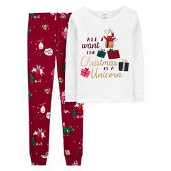 Little Girls 2-pc. Xmas Unicorn Pajama Set