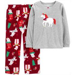 Little Girls 2-pc. Unicorn Fleece Pajama Set