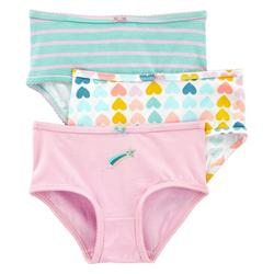Little Girls 3-pk. Solid Heart Print Brief Panties