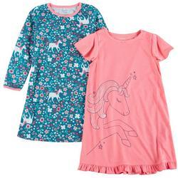 Little Girls 2-pk. Unicorn Sleep Gown Set