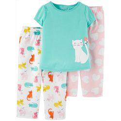 Toddler Girls 3-pc. Poly Cat Pajama Set