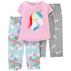 Carters Toddler Girls 3-pc. Poly Unicorn Pajama Set