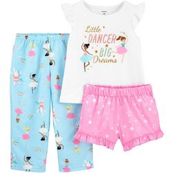 Carters Toddler Girls 3-pc. Poly Ballerina Pajama Set