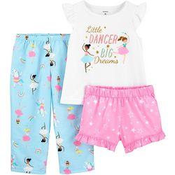 Toddler Girls 3-pc. Poly Ballerina Pajama Set