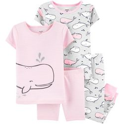 Toddler Girls 4-pc. Whale Snug Fit Pajama Pants Set