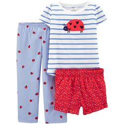 Carters Toddler Girls 3-pc. Poly Ladybug Pajama Set