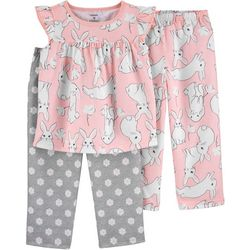 Carters Toddler Girls 3-pc. Poly Bunny Pajama Set