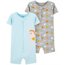 Carters Toddler Girls 2-pc Seahorse Romper Pajama Set