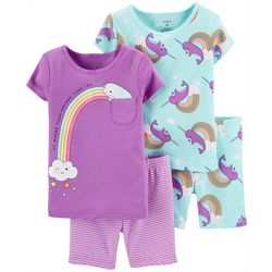 Carters Toddler Girls 4-pc. Narwhal Sleepwear Set