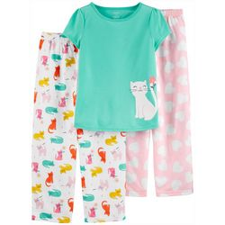 Carters Little Girls 3-pc. Poly Cat Pajama Set