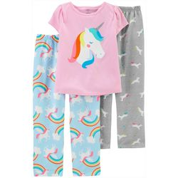 Carters Little Girls 3-pc. Poly Rainbow Unicorn Pajama Set