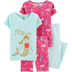 Little Girls 4-pc. Mermaid & Unicorn Sleepwear Set