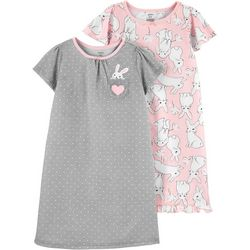 Little Girls 2-pk. Bunny Nightgowns