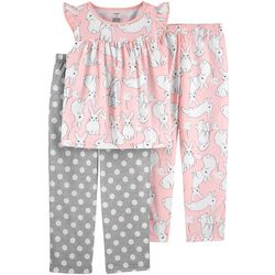 Little Girls 3-pc. Poly Bunny Pajama Set