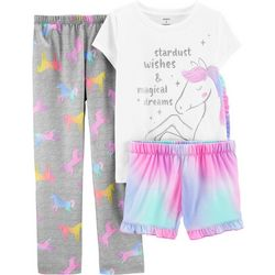 Little Girls 3-pc. Poly Unicorn Pajama Set