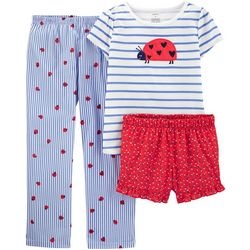 Little Girls 3-pc. Poly Ladybug Pajama Set
