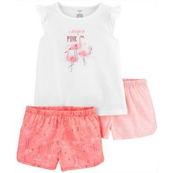 Little Girls 3-pc. Poly Flamingo Pajama Set