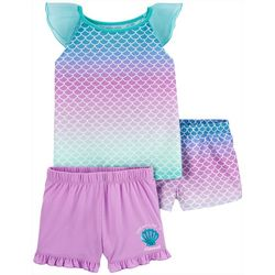 Little Girls 3-pc. Poly Mermaid Scale Pajama Set