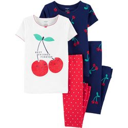 Carters Little Girls 4-pc. Cherry Snug Fit Pajama Pants Set