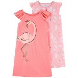 Little Girls 2-pk. Flamingo Nightgowns