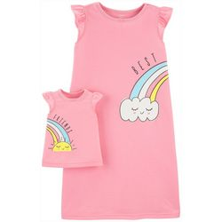 Carters Little Girls Rainbow Nightgown & Doll Nightgown