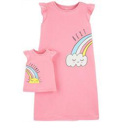 Little Girls Rainbow Nightgown & Doll Nightgown Set