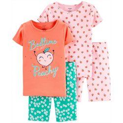Little Girls 4-pc. Bedtime Peachy Sleepwear Set