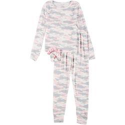 Big Girls Camo Print Pajama Set & Hair Ties