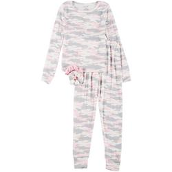 Big Girls Camo Print Pajama Set & Hair Ties