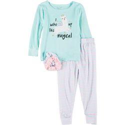 Toddler Girls Llama Pajama Set & Hair Ties