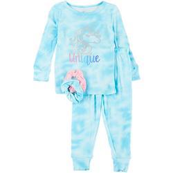 Toddler Girls Tie-Dye Pajama Set & Hair Ties