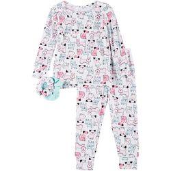Toddler Girls Dog Print Pajama Set & Hair Ties