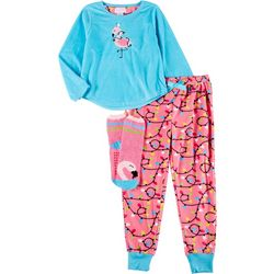 Rene Rofe Big Girls 3-pc. Flamingo Pajama Set