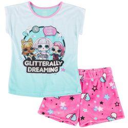 Big Girls Glitter Glam Pajama Shorts Set