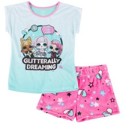 Little Girls Glitter Glam Pajama Shorts Set