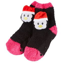 Capelli Girls Chenille Penguin Slipper Socks