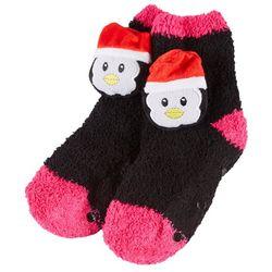 Girls Chenille Penguin Slipper Socks