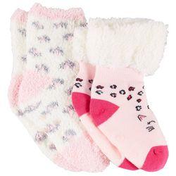Capelli Little Girls Chenille Leopard Print Slipper Socks