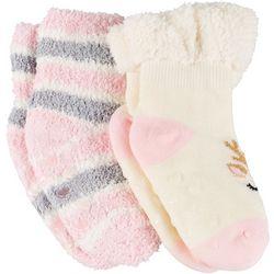 Toddler Girls Reindeer Slipper Socks
