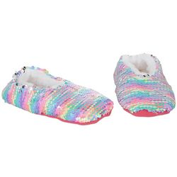 Girls Rainbow Flip Sequin Slippers