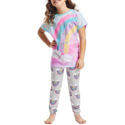 Jelli Fish Inc. Big Girls 2-pc. Colorful Rainbow Pajama Set