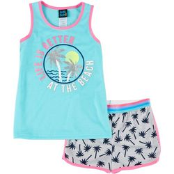 Little Girls Palm Tree Pajama Shorts Set