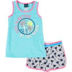 Little Girls Palm Tree Pajama Shorts Set