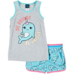 Jelli Fish Inc. Little Girls Narwhal Pajama Shorts