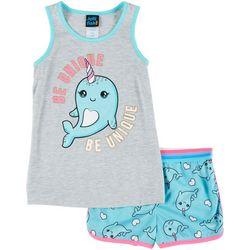 Big Girls Narwhal Pajama Shorts Set