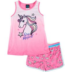 Little Girls 2-pc. Unicorn Pajama Shorts Set